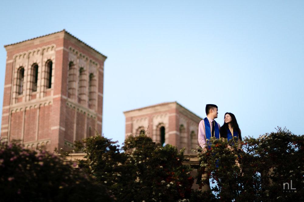 los-angeles-ucla-senior-graduation-portraits-couple-royce-hall-epic-landscape-sunset