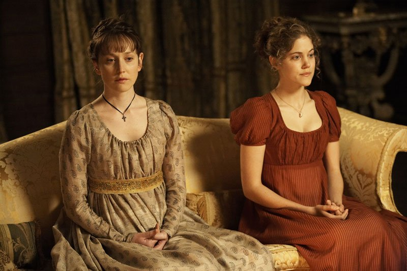 Hattie Morahan as Elinor Dashwood and Charity Wakefield as Marianne Dashwood.