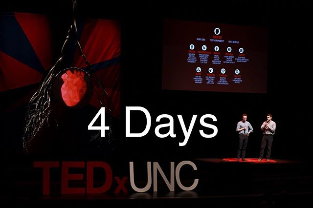 4 DAYS until the TEDxUNC 2019 Conference Theme is revealed!  See us in the Pit from 11am to 1pm on Tuesday, January 29 for the first look.  This picture is from the 2016 TEDxUNC Conference - Human Bodies