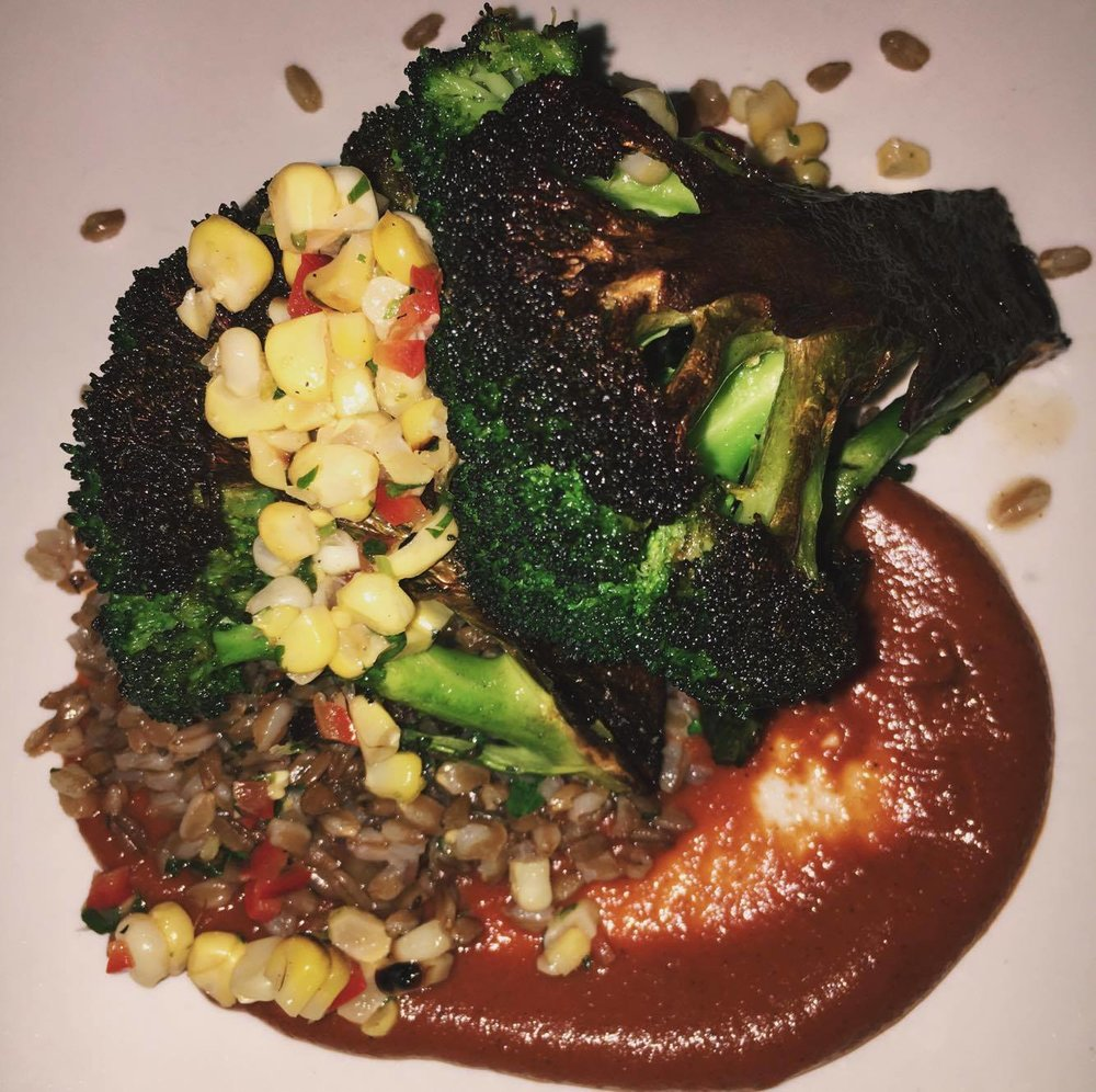 Roasted Broc with Grains and tomato puree