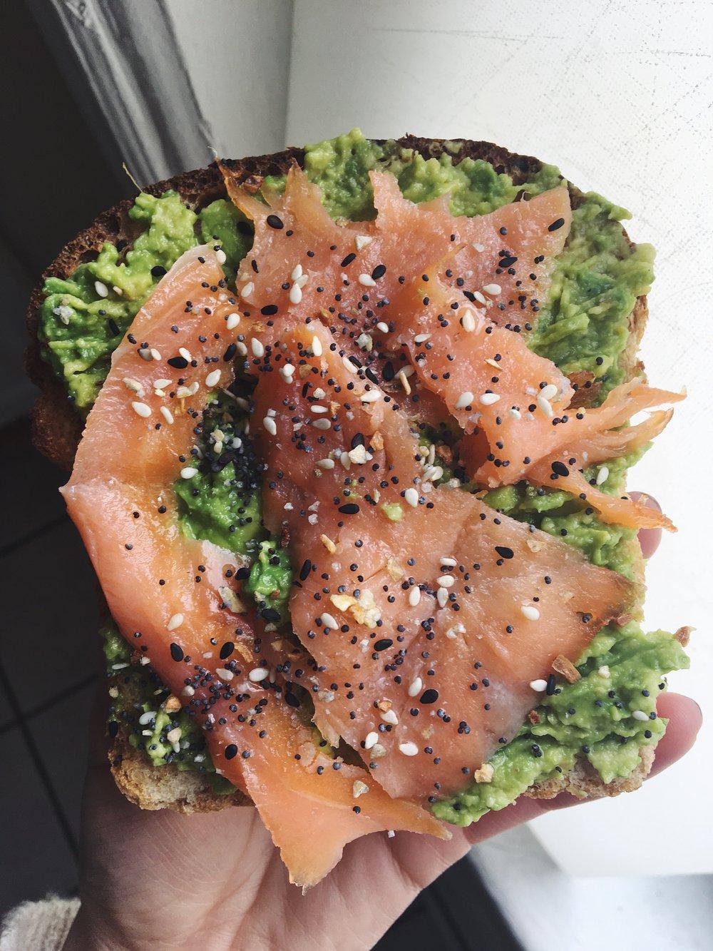 Avo Toast with Smoked Salmon- Homemade