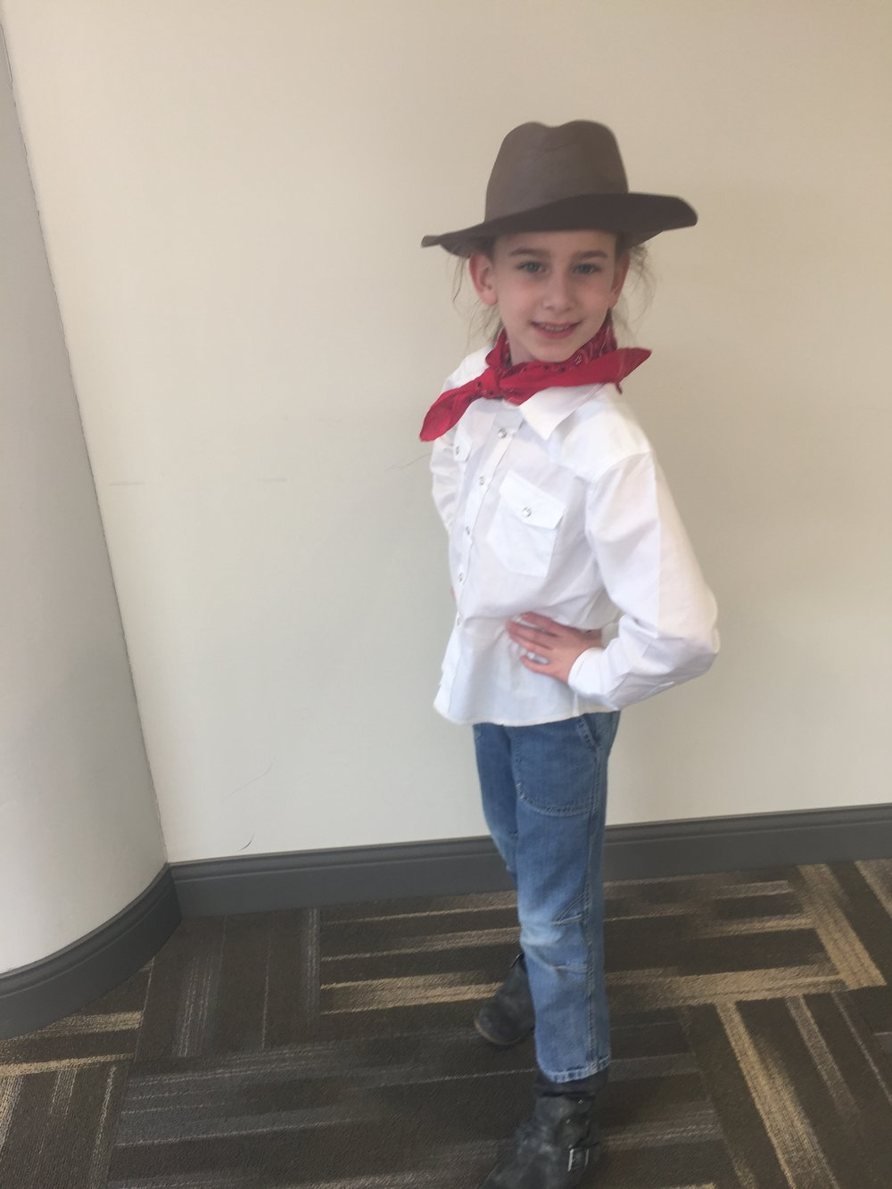 "March 2018 Drama Festival! Serenity played Will Rogers, ""The Greatest Entertainer of All Time!"" Her teachers said they chose her for that part because she could act with a lot of enthusiasm!"