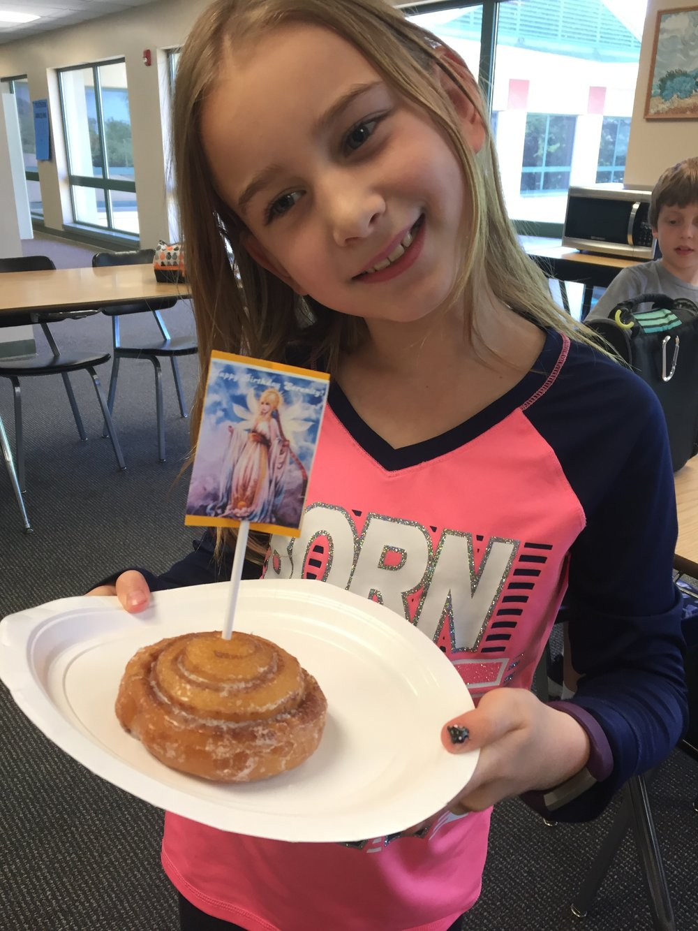 May 2018 Birthday cinnamon rolls! The topper is a picture of Hermera, the greek goddess of the day. A word Serenity repeated randomly and to be silly a lot this spring!