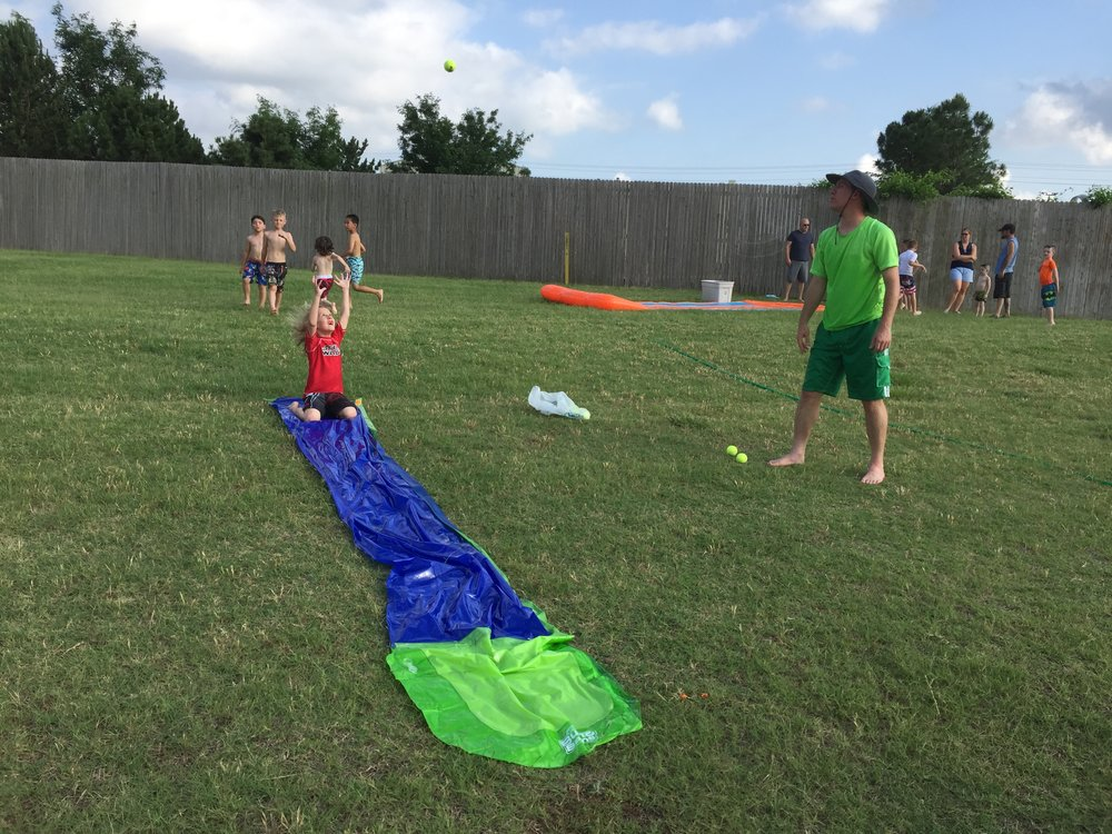 DZ had a few more baseball games and practices, including this excellent Slip N Slide sliding practice! The kids LOVED it!