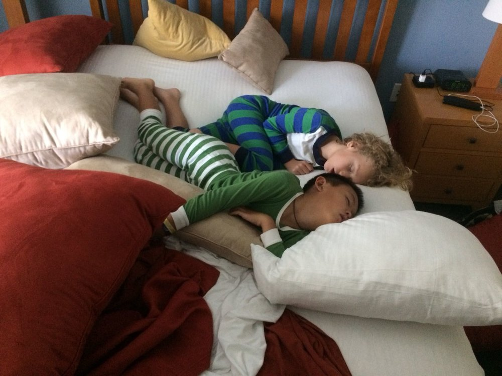 The kids loved sleepovers! Our kids slept in different rooms every day!
