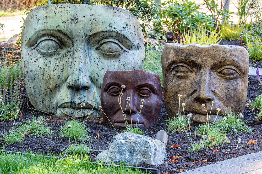 Faces Of Mother Nature Statues Water Garden MustangLandscape Victoria BC