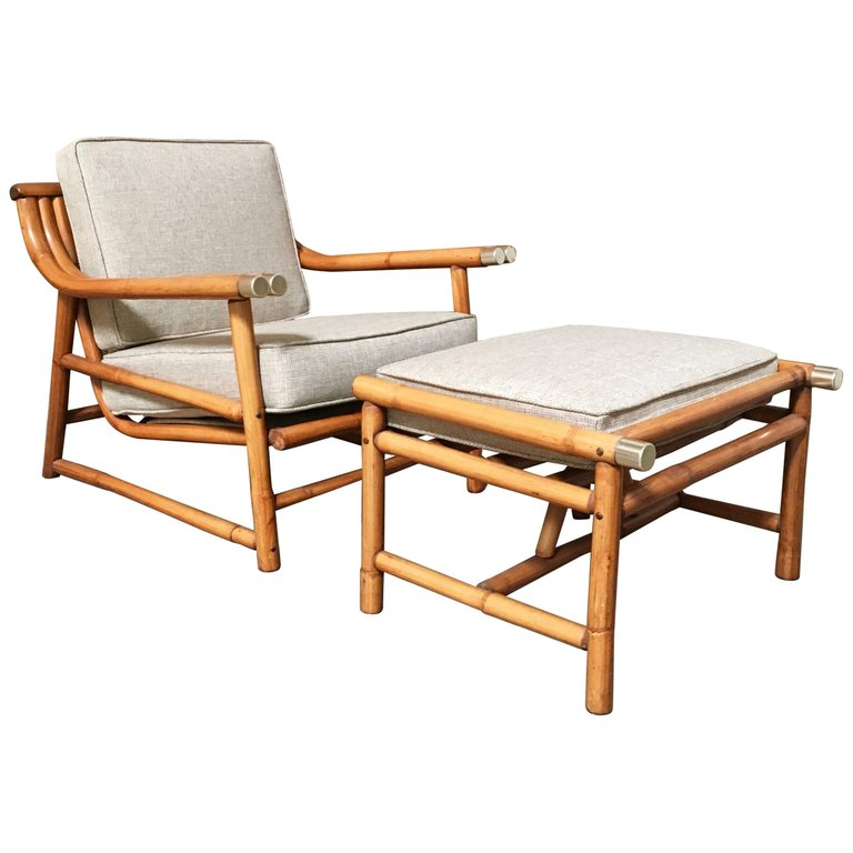 Mid Century Modern Rattan Lounge Chair And Ottoman