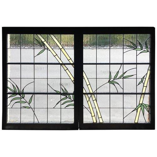 Pair of Leaded Glass Windows in Wood Frames — Kubisak Modern Design