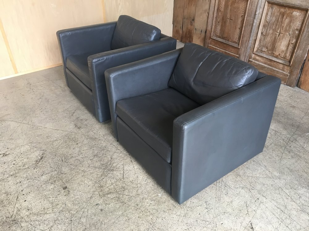 Grey Leather Lounge Cube Chairs