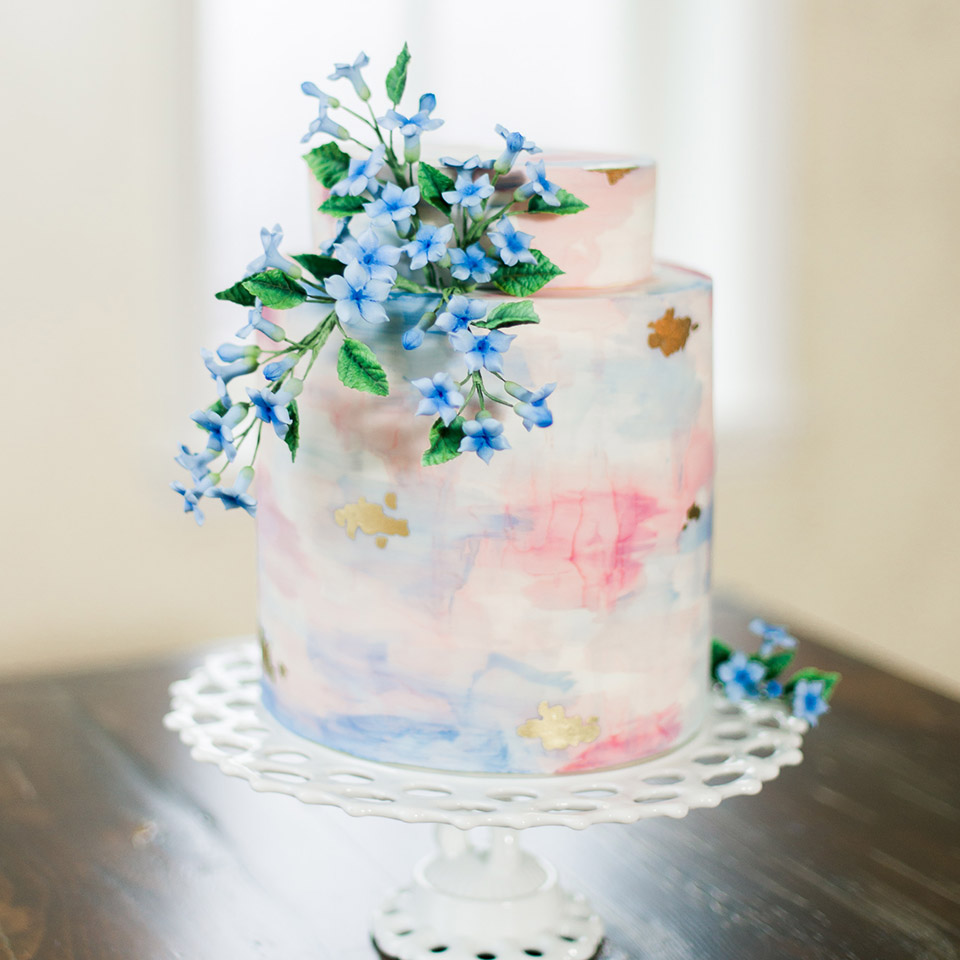 Spring Watercolor wedding cake