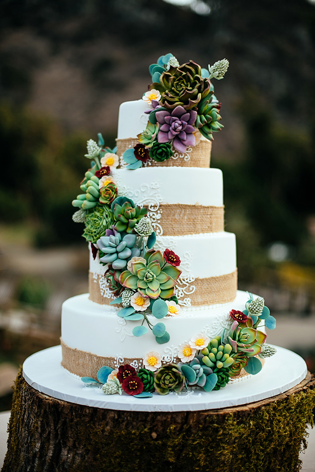 Sugar Succulent wedding cake