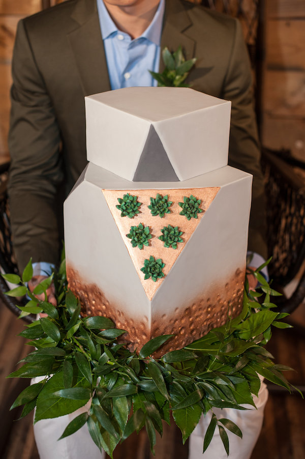 Geometric Modern Greenery Wedding Cake with Succulents