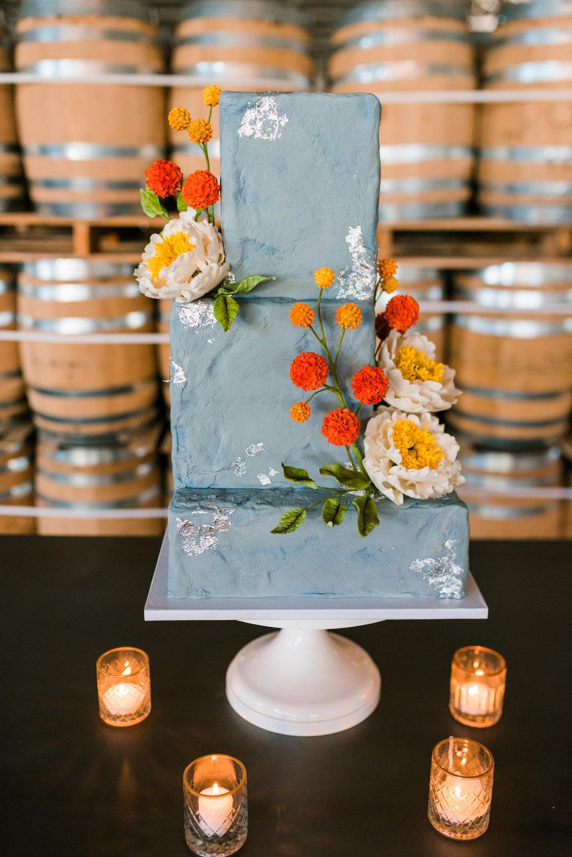 Industrial Peony wedding cake