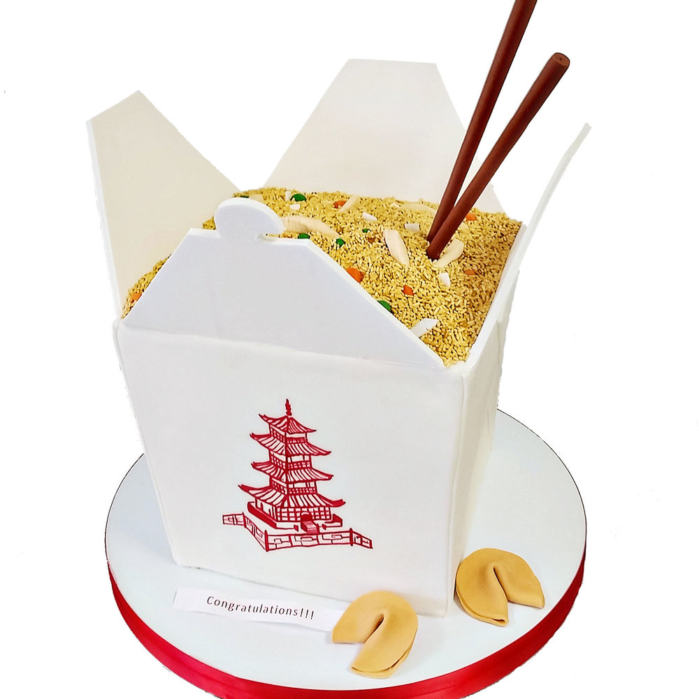 chinese fried rice takeout container cake