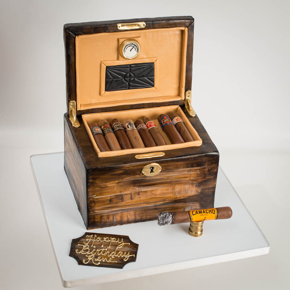 Cigar humidor birthday cake