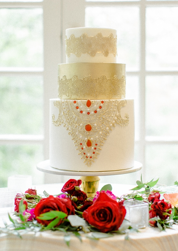 South Asian wedding cake design inspired by embrodery