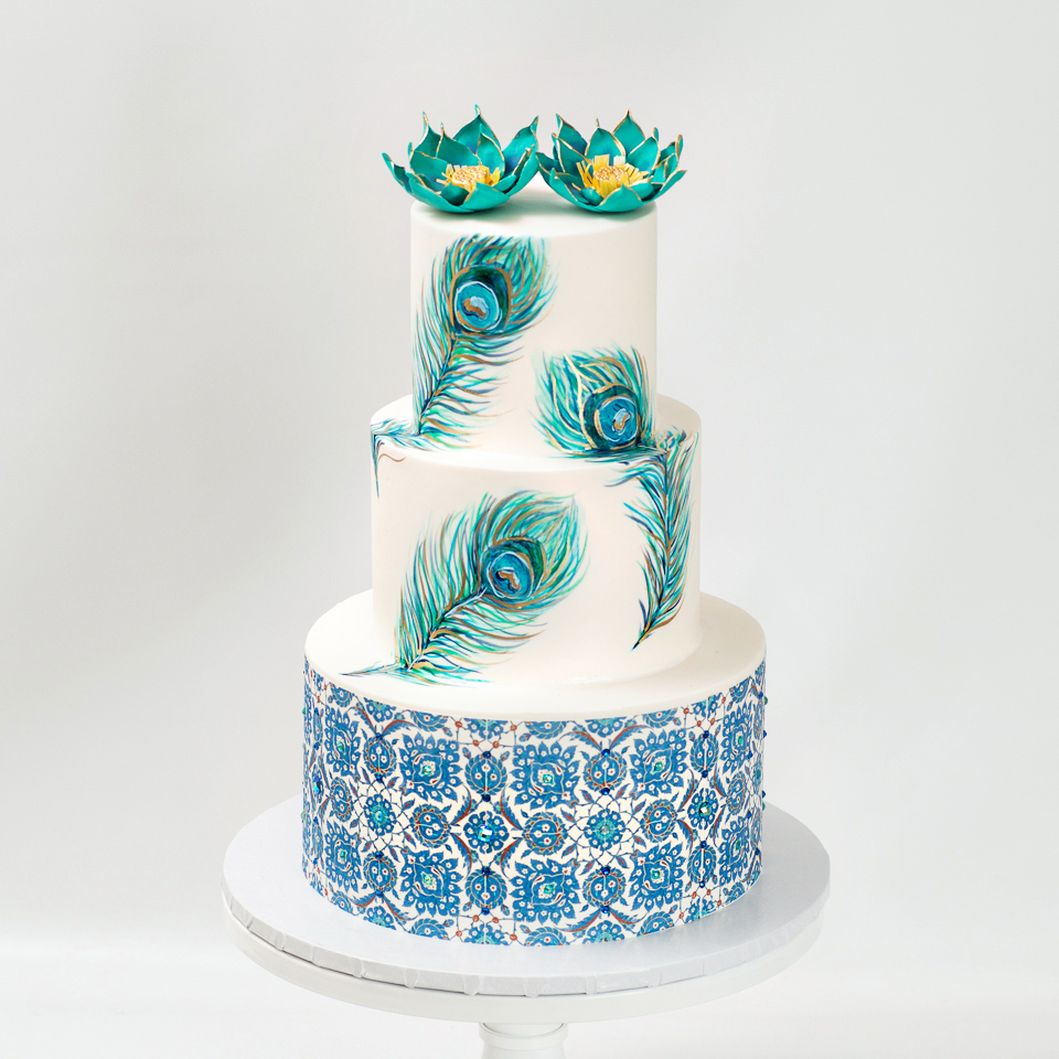 Turquoise Peacock wedding cake with turkish tiles and lotus flowers