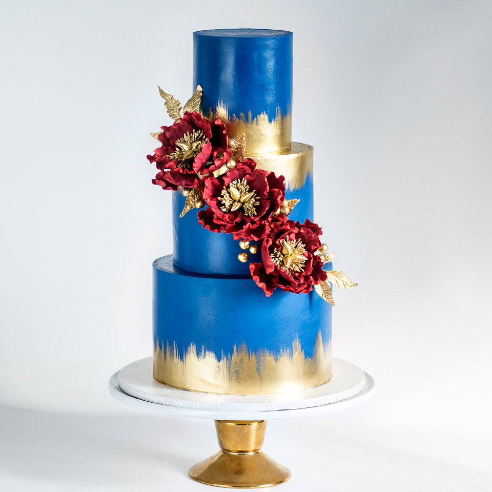 Navyblue-gold-burgundy-wedding-cake-Blue lace cakes.jpg