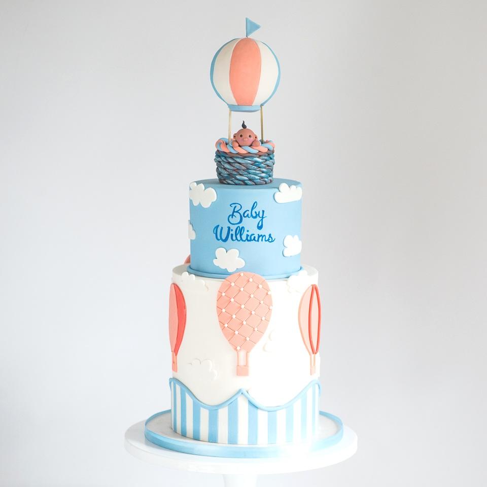 Baby Boy Hot Air Balloon Baby Shower Cake