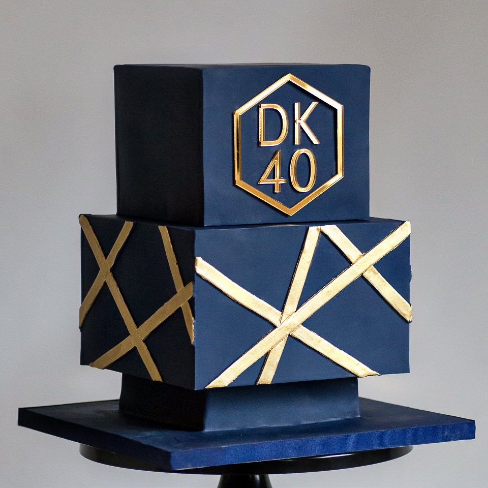 Geometric 40th Birthday cake Navy and Gold