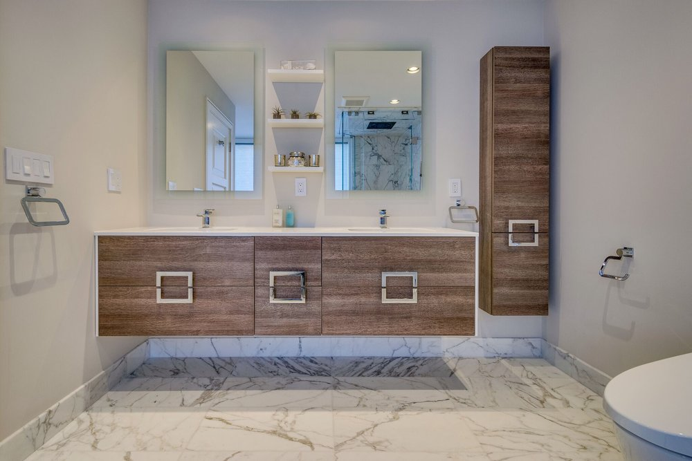 Wood Cabinets in a Modern Bathroom