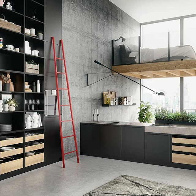 I recently proposed incorporating a #funky #ladder like this for my clients #urban #kitchen.  @siematic_kitchen  #openconcept #modern @binnsdesign