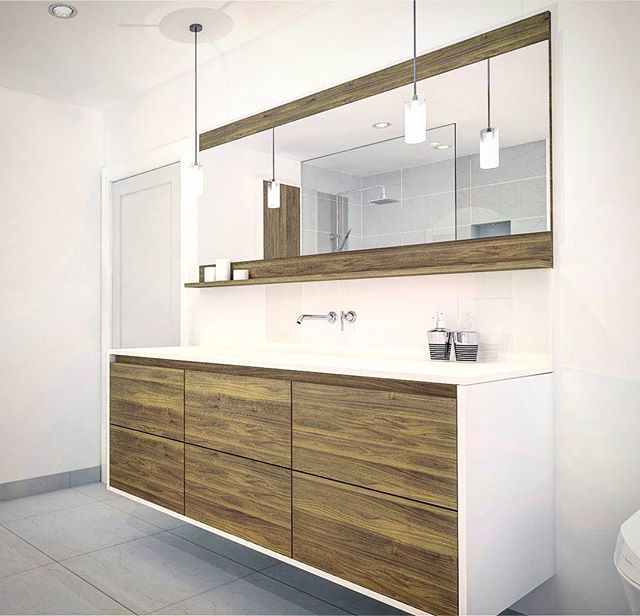 Love doing #floating vanities , especially when they have #cleanlines  #rendering #walnut #custom #vanity
