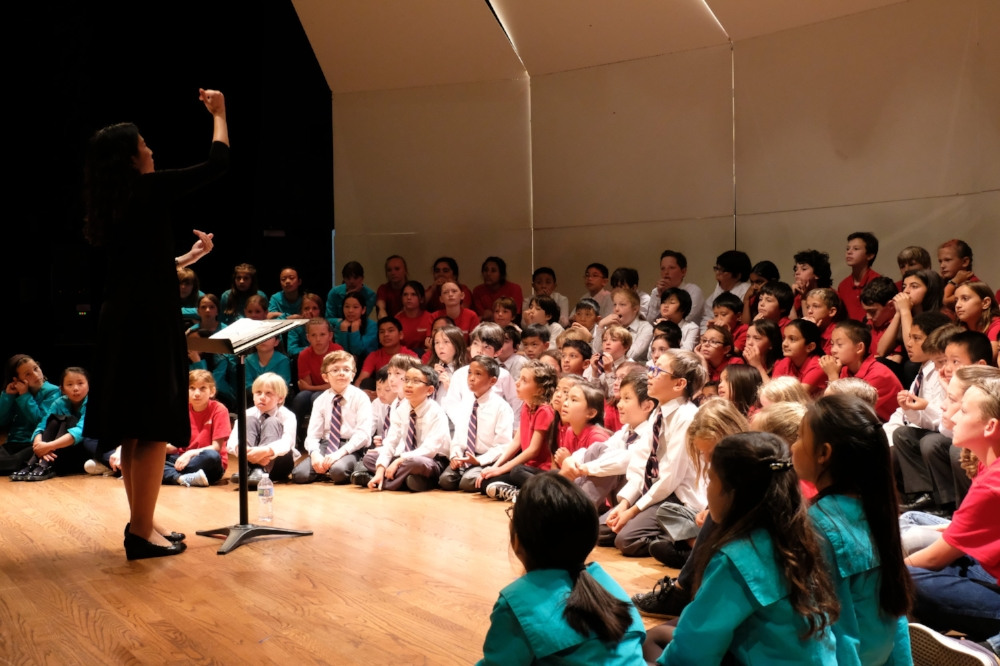 Judith Chan    sharing vocal technique with young choristers of the morning session of the 2017 Children's Choral Festival at Holy Names University.