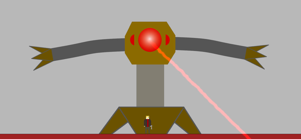 RAWM, War Ender's second boss, firing a laser beam
