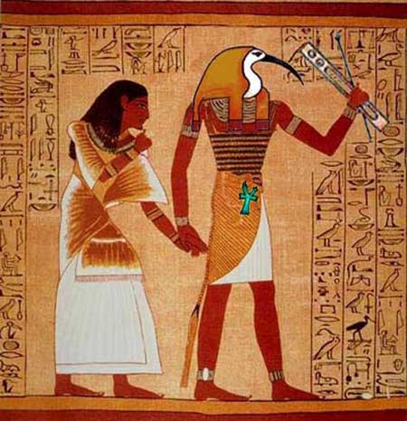 Thoth (Dyehuty) is the Egyptian god of writing, music, spells, and music. He is symbolized by the moon and associated with the astrological air sign Gemini.