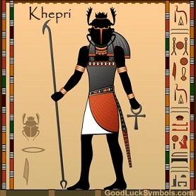 The Egyptian Scarab Beetle was associated with the god of the Rising Sun called Khepri. Khepri represents rejuvenation, divine wisdom, and eternal renewal.