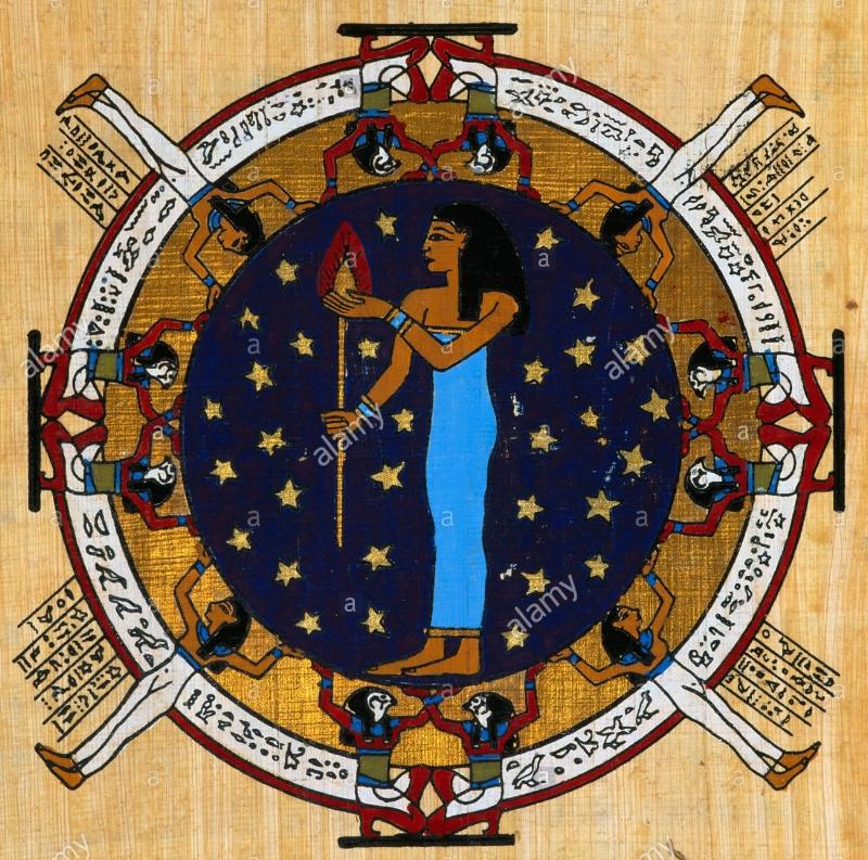egypt-star-sign-on-papyrus-virgo-24th-august-to-23rd-september-AW2TPT.jpg