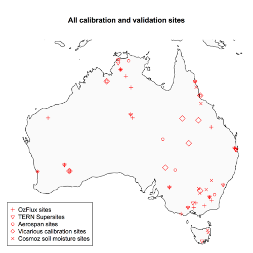 distribution of cal-val sites across australia