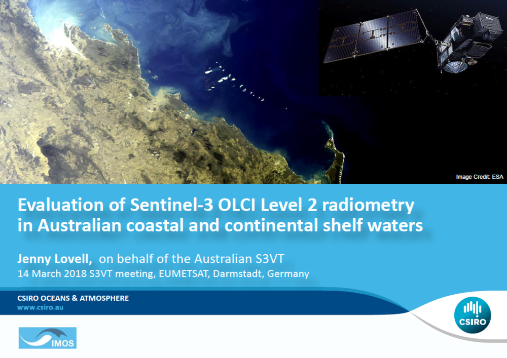 View/download the Australian Sentinel-3 Validation Team (S3VT) presentation from the 2018 S3VT meeting - EUMETSAT/ESA.