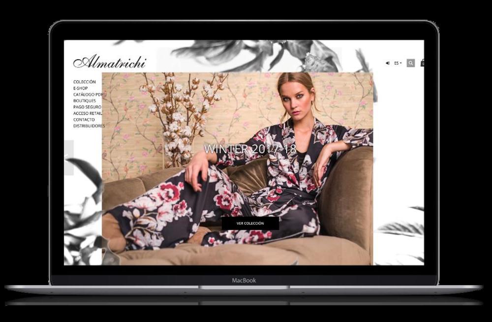 Almatrichi - E-commerce B2C/B2B diseñado y desarrollado por 2beDigital en Spreecommerce ( Ruby on Rails ).La visualización de opciones de menú y carrito de compra se adecúa al país de origen de la ip.Resultados: Almatrichi.com fue nominada a los premios Awwwards en el 2016.