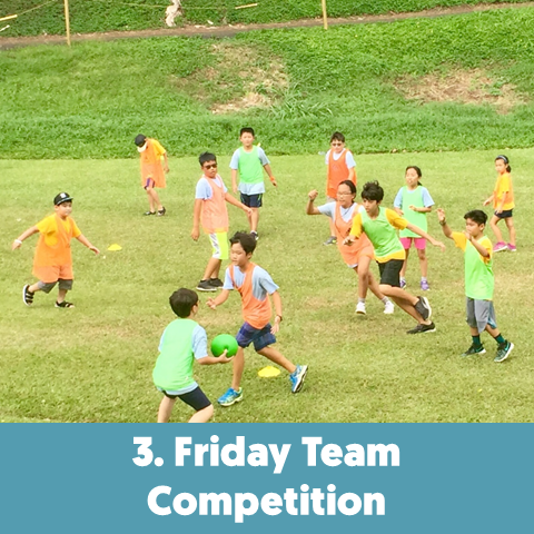 Every Friday, campers compete, cultivate team spirit, execute sportsmanship, and practice leadership.