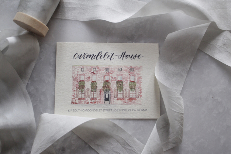 Venue card designed and painted by Aria Paperie.