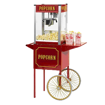 "Popcorn Machine $65    •  24"" x 18"" x 53""  (31 lbs) •  Day rental includes kernels, oil, butter and bags for 50 servings • Can pop 24 bags of popcorn per batch • 120V, 667 Watts"