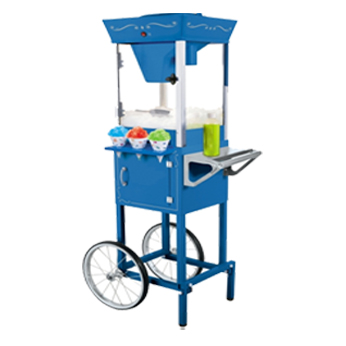 "Snow Cone Machine $65   • 21"" x 16.5"" x 53""  (41 lbs) •  Day rental includes cones, spoon-straws, and two syrup flavors for 50 servings • Can shave up to 2 lbs of ice in 90 secs • 120V, 100 Watts"