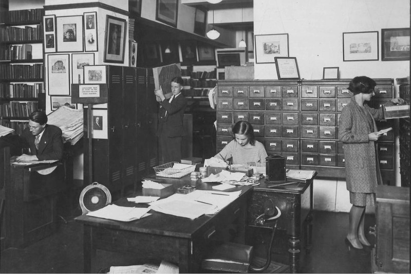 The main library of John Fairfax & Sons in Hunter Street, Sydney, circa 1930 Source: State Library of NSW
