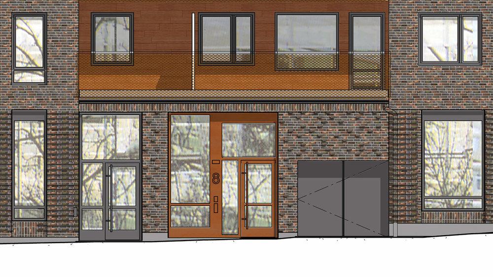 Varierad våning - Vi har designat bottenvåningen i olika färger och reliefer i tegel för att skapa variation. Det ska vara lätt att se vad som är affärslokaler och vad som är entréer till bostäder!