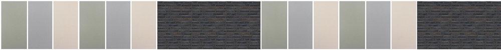 Kulör möter TEGEL . Tre milda kulörer skapar kontrast till den strama mörka tegelfasaden.