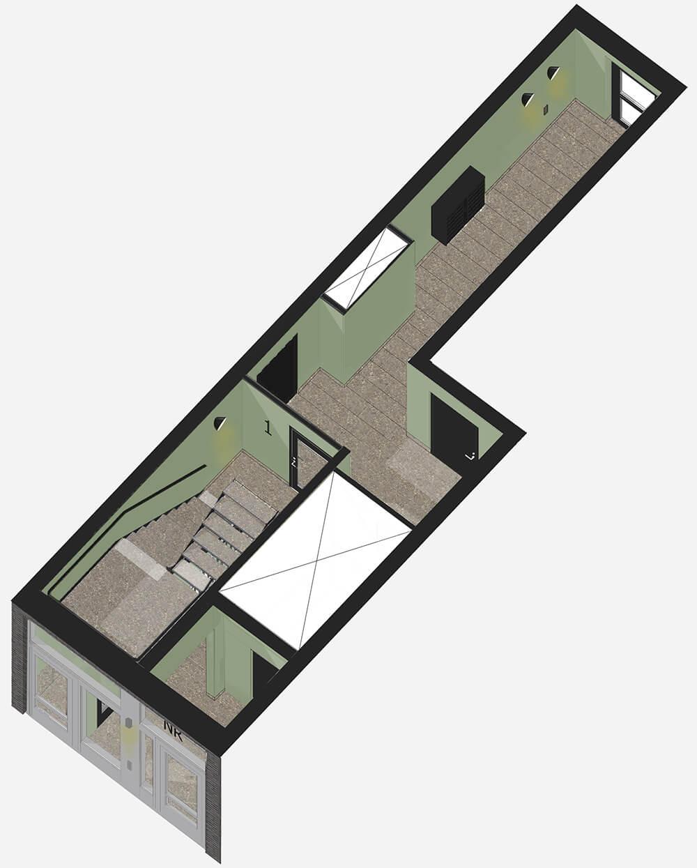 Stramt Grågrönt i trapphusen - Trapphusen är utformade med en och samma lugna strama gröngråa kulör på väggar och tak med en naturfärgad stenplatta på golv och trappor. Dörrar, räcken, postlådor och hissfronter markeras tydligt med samma svarta färg.