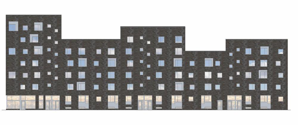 Mandelpilen.  Den långa tegelfasaden mot Fyrislundsgatan är karaktäristisk för projektet.