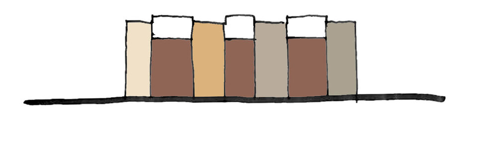 Vertikalitet.  Redan tidigt i planskedet har projektet haft en tydlig vertikal indelning. Det ger en naturlig indelning av kulörer och vad som blir fasad och vad som blir träveranda.