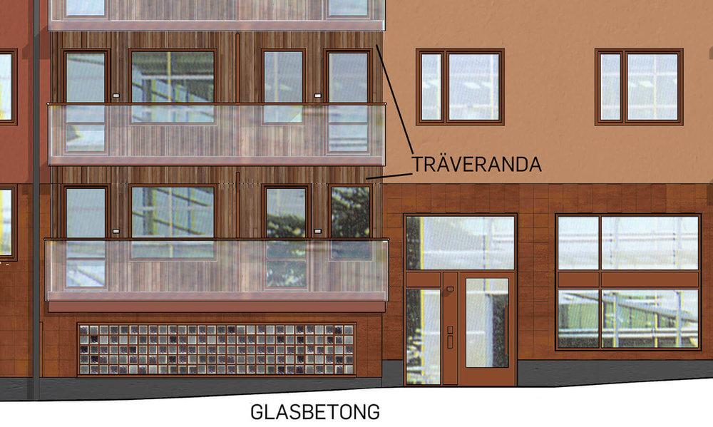 Varde ljus (i fläktrummet) - På den nya gatan Östra Rögårdsgatan blir det glasbetong i fasaden mot fläktrummet. Under kvällar kommer fläktrummet lysas upp inifrån.Här syns också hur balkongerna är inklädda med trä.