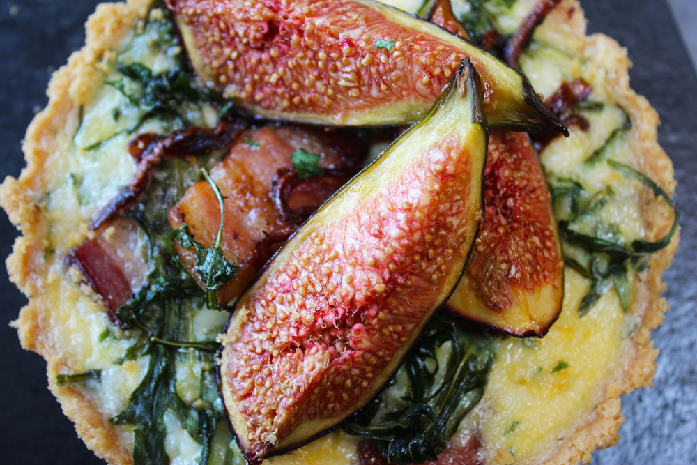 Fig, pancetta, spinach and blue cheese tart