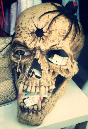 Here we see a theme emerging - the weaving together of horror and shopping. This skull was as big as a boulder.