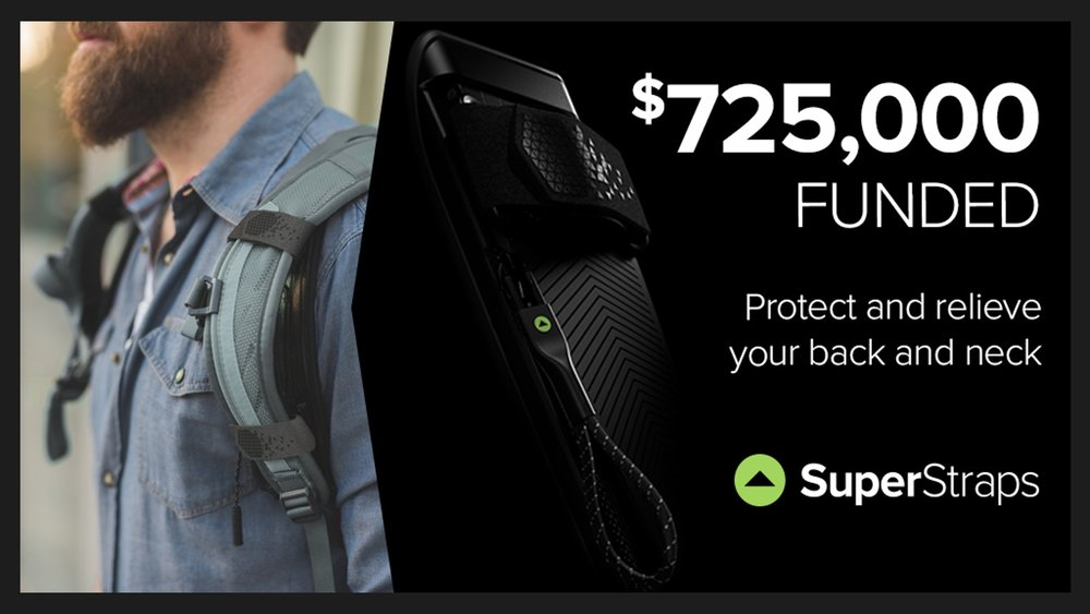 SuperStraps: Lift backpack weight and strain instantly - $725,709 Raised | 9,455 Backers