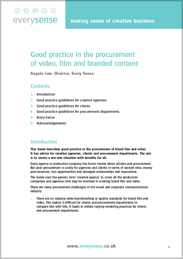 Every Sense Guide: Good practice in the procurement of video, film and branded content